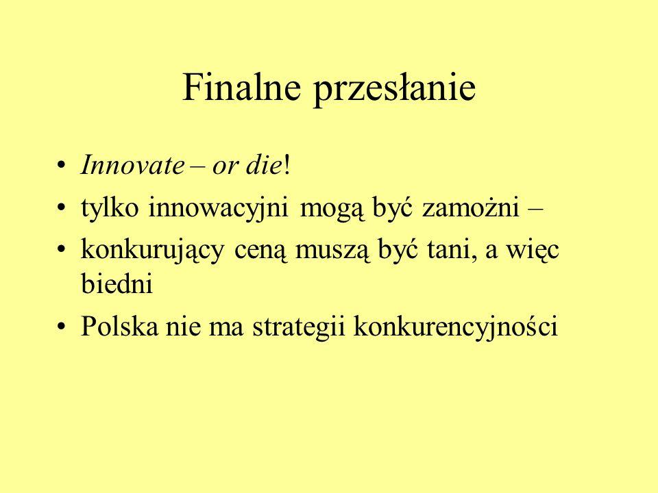 Finalne przesłanie Innovate – or die! tylko innowacyjni mogą być zamożni – konkurujący ceną muszą być tani, a więc biedni Polska nie ma strategii konk