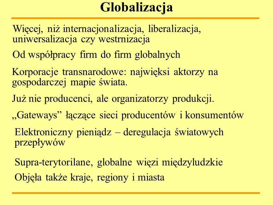 Globalizacja Supra-terytorilane, globalne więzi międzyludzkie Korporacje transnarodowe: najwięksi aktorzy na gospodarczej mapie świata. Już nie produc