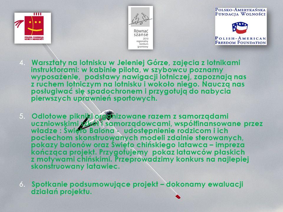 4. Warsztaty na lotnisku w Jeleniej Górze, zajęcia z lotnikami instruktorami: w kabinie pilota, w szybowcu poznamy wyposażenie, podstawy nawigacji lot