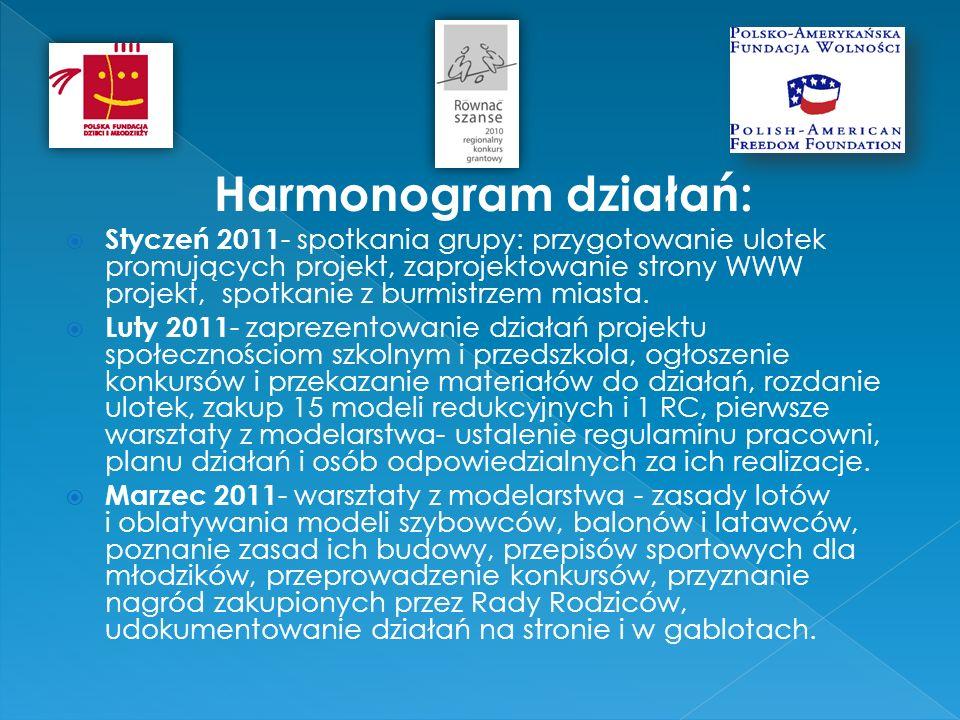 Harmonogram działań: Styczeń 2011 - spotkania grupy: przygotowanie ulotek promujących projekt, zaprojektowanie strony WWW projekt, spotkanie z burmistrzem miasta.