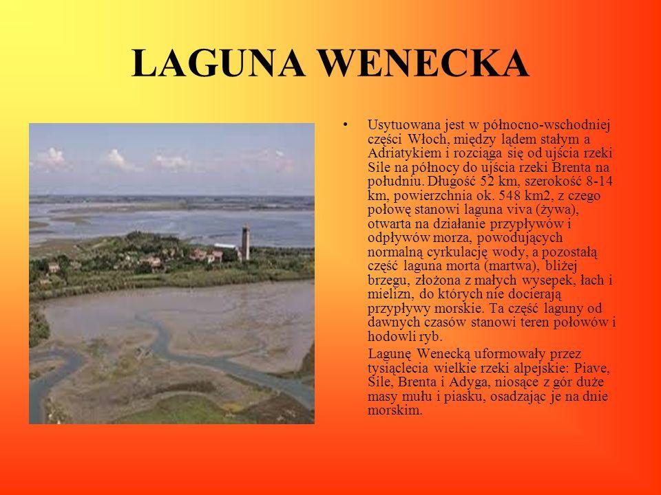 LAGUNA WENECKA Usytuowana jest w północno-wschodniej części Włoch, między lądem stałym a Adriatykiem i rozciąga się od ujścia rzeki Sile na północy do