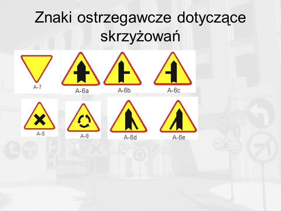 Znaki ostrzegawcze dotyczące skrzyżowań