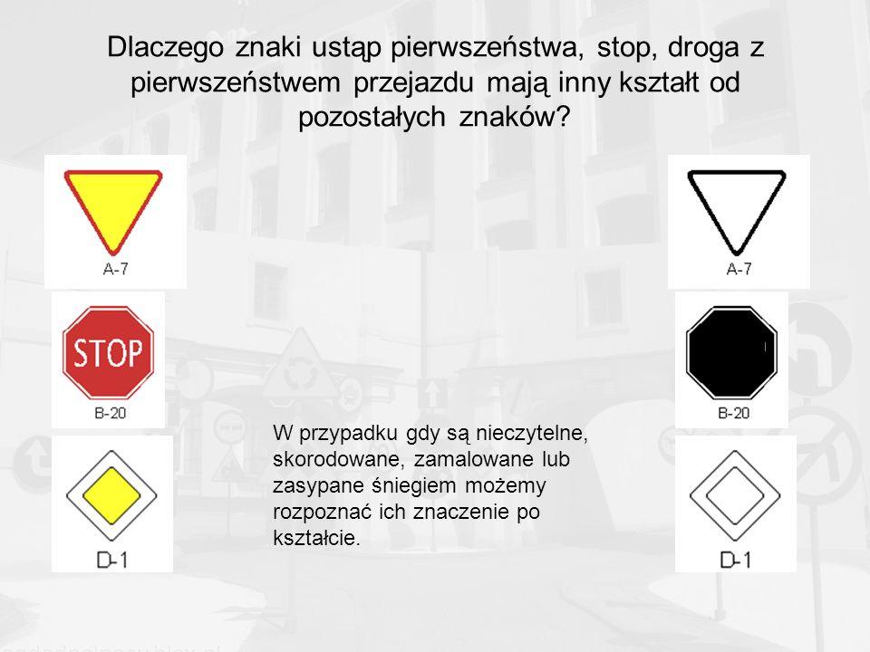 Dlaczego znaki ustąp pierwszeństwa, stop, droga z pierwszeństwem przejazdu mają inny kształt od pozostałych znaków.