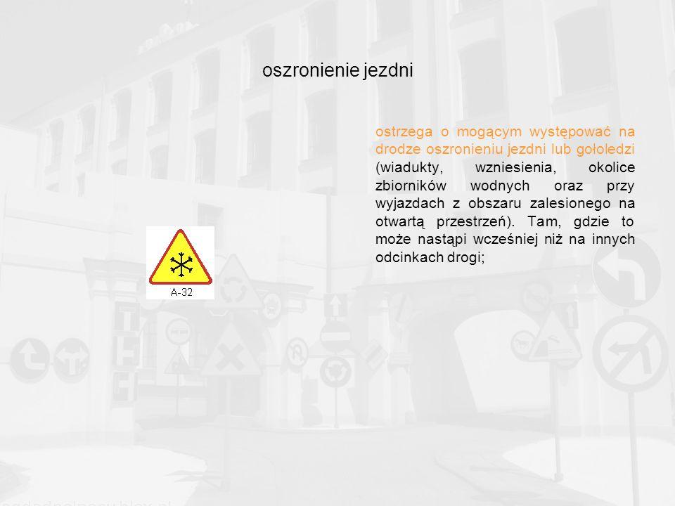 oszronienie jezdni ostrzega o mogącym występować na drodze oszronieniu jezdni lub gołoledzi (wiadukty, wzniesienia, okolice zbiorników wodnych oraz przy wyjazdach z obszaru zalesionego na otwartą przestrzeń).