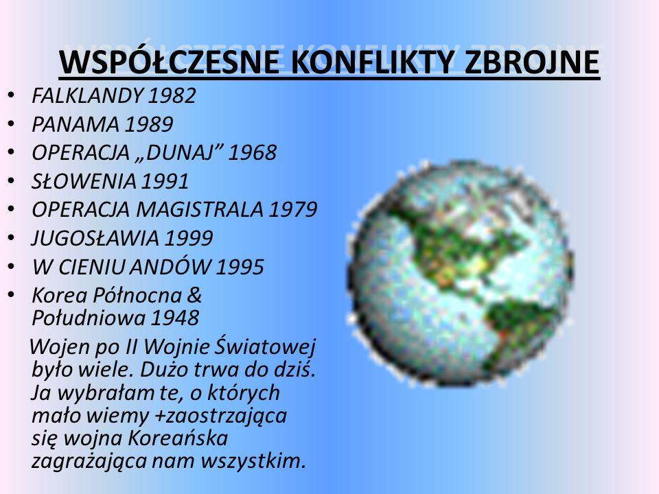 WSPÓŁCZESNE KONFLIKTY ZBROJNE WSPÓŁCZESNE KONFLIKTY ZBROJNE FALKLANDY 1982 PANAMA 1989 OPERACJA DUNAJ 1968 SŁOWENIA 1991 OPERACJA MAGISTRALA 1979 JUGO