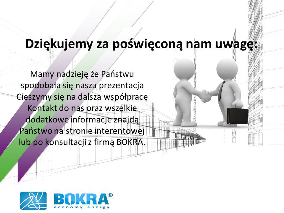 Dziękujemy za poświęconą nam uwagę: Mamy nadzieję że Państwu spodobała się nasza prezentacja Cieszymy się na dalsza współpracę Kontakt do nas oraz wszelkie dodatkowe informacje znajdą Państwo na stronie interentowej lub po konsultacji z firmą BOKRA.