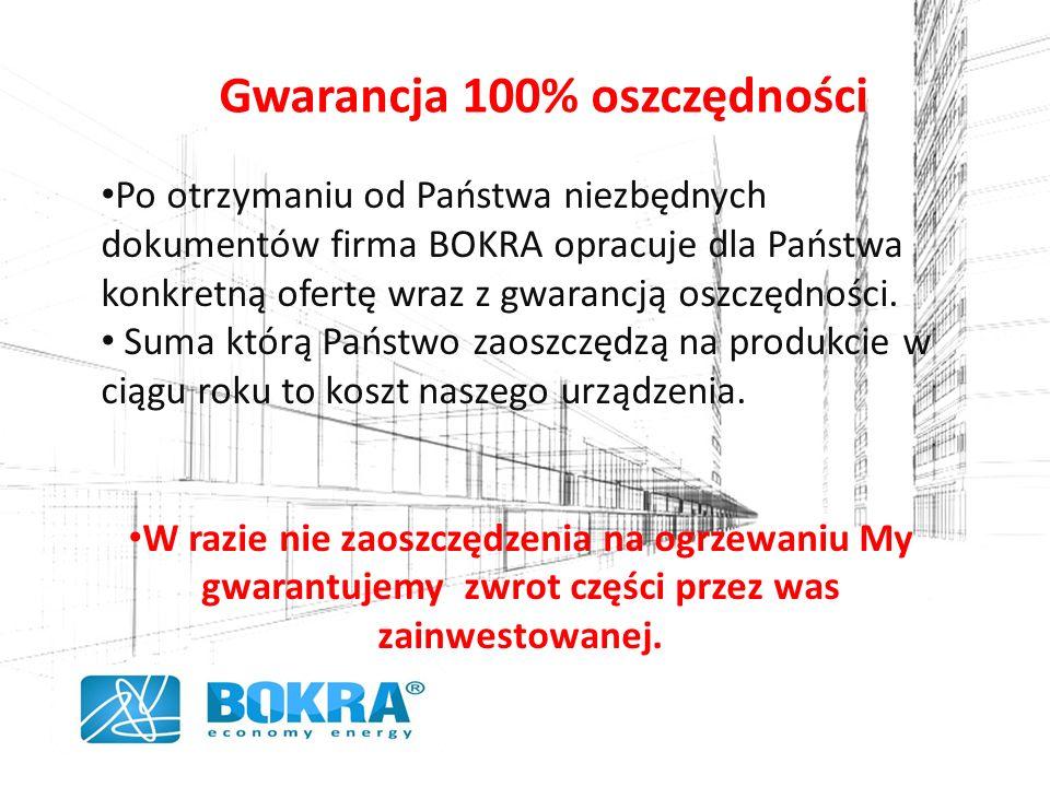 Gwarancja 100% oszczędności Po otrzymaniu od Państwa niezbędnych dokumentów firma BOKRA opracuje dla Państwa konkretną ofertę wraz z gwarancją oszczędności.