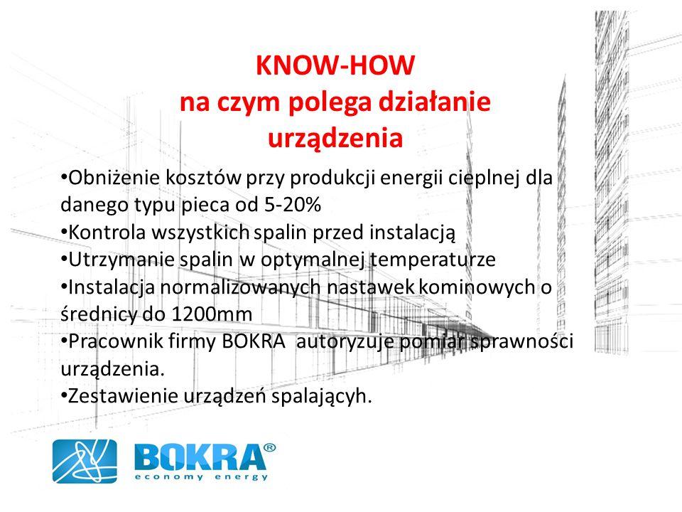 KNOW-HOW na czym polega działanie urządzenia Obniżenie kosztów przy produkcji energii cieplnej dla danego typu pieca od 5-20% Kontrola wszystkich spalin przed instalacją Utrzymanie spalin w optymalnej temperaturze Instalacja normalizowanych nastawek kominowych o średnicy do 1200mm Pracownik firmy BOKRA autoryzuje pomiar sprawności urządzenia.