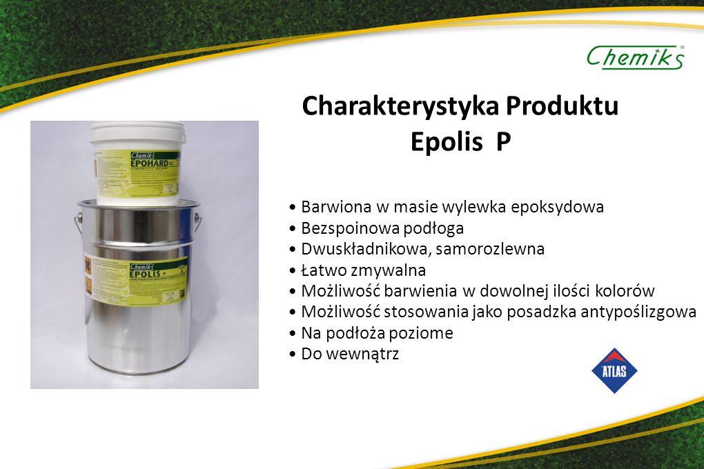 Charakterystyka Produktu Epolis P Barwiona w masie wylewka epoksydowa Bezspoinowa podłoga Dwuskładnikowa, samorozlewna Łatwo zmywalna Możliwość barwienia w dowolnej ilości kolorów Możliwość stosowania jako posadzka antypoślizgowa Na podłoża poziome Do wewnątrz