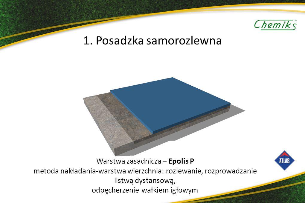 Warstwa zasadnicza – Epolis P metoda nakładania-warstwa wierzchnia: rozlewanie, rozprowadzanie listwą dystansową, odpęcherzenie wałkiem igłowym 1.
