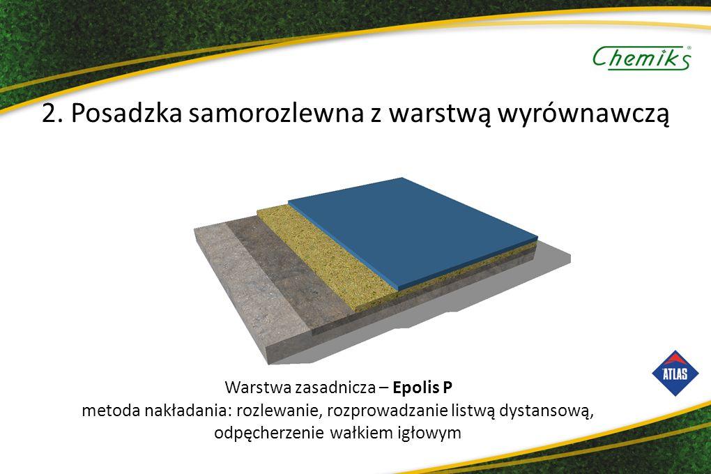 Warstwa zasadnicza – Epolis P metoda nakładania: rozlewanie, rozprowadzanie listwą dystansową, odpęcherzenie wałkiem igłowym 2.