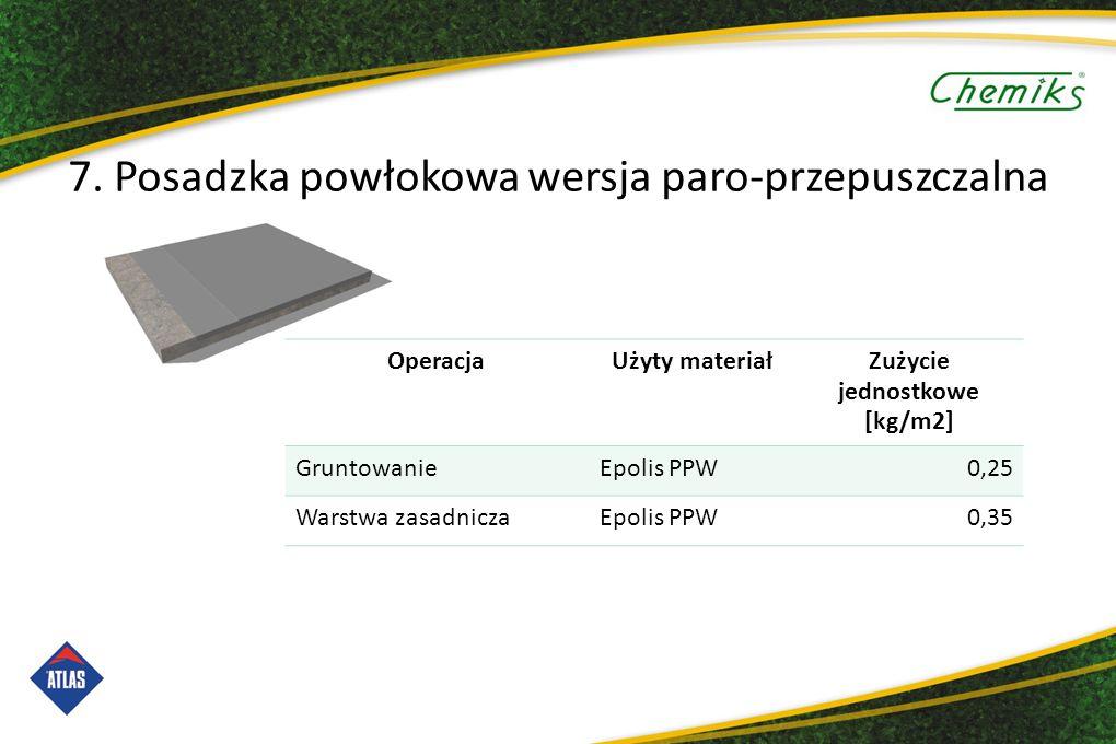 OperacjaUżyty materiałZużycie jednostkowe [kg/m2] GruntowanieEpolis PPW0,25 Warstwa zasadniczaEpolis PPW0,35 7.