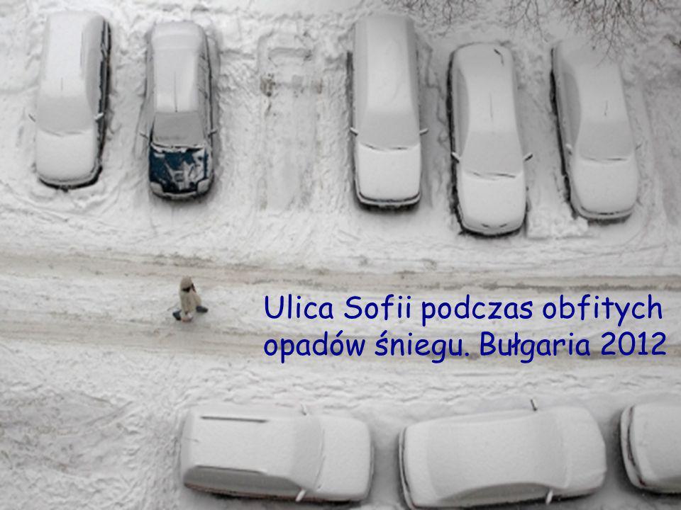 Ulica Sofii podczas obfitych opadów śniegu. Bułgaria 2012
