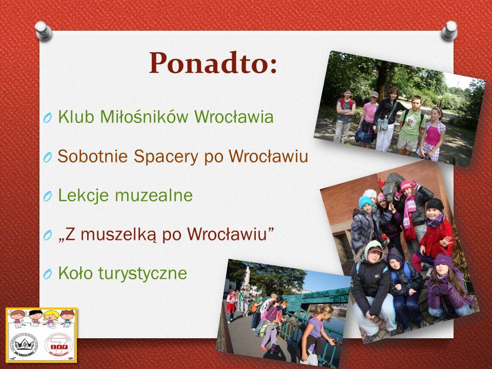 Ponadto: O Klub Miłośników Wrocławia O Sobotnie Spacery po Wrocławiu O Lekcje muzealne O Z muszelką po Wrocławiu O Koło turystyczne