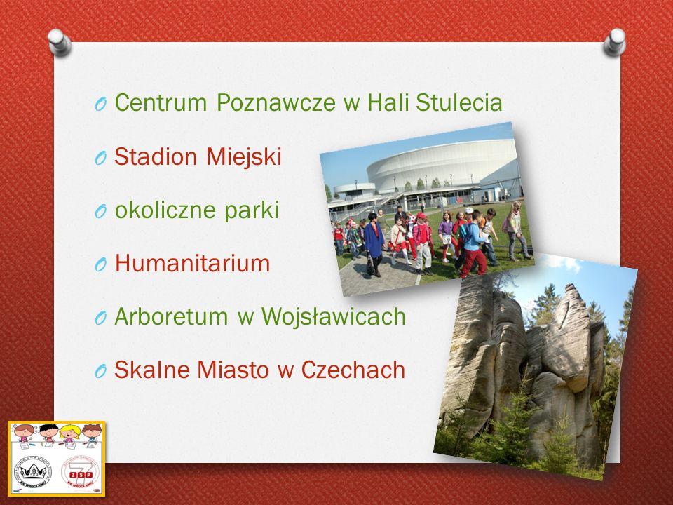 O Centrum Poznawcze w Hali Stulecia O Stadion Miejski O okoliczne parki O Humanitarium O Arboretum w Wojsławicach O Skalne Miasto w Czechach