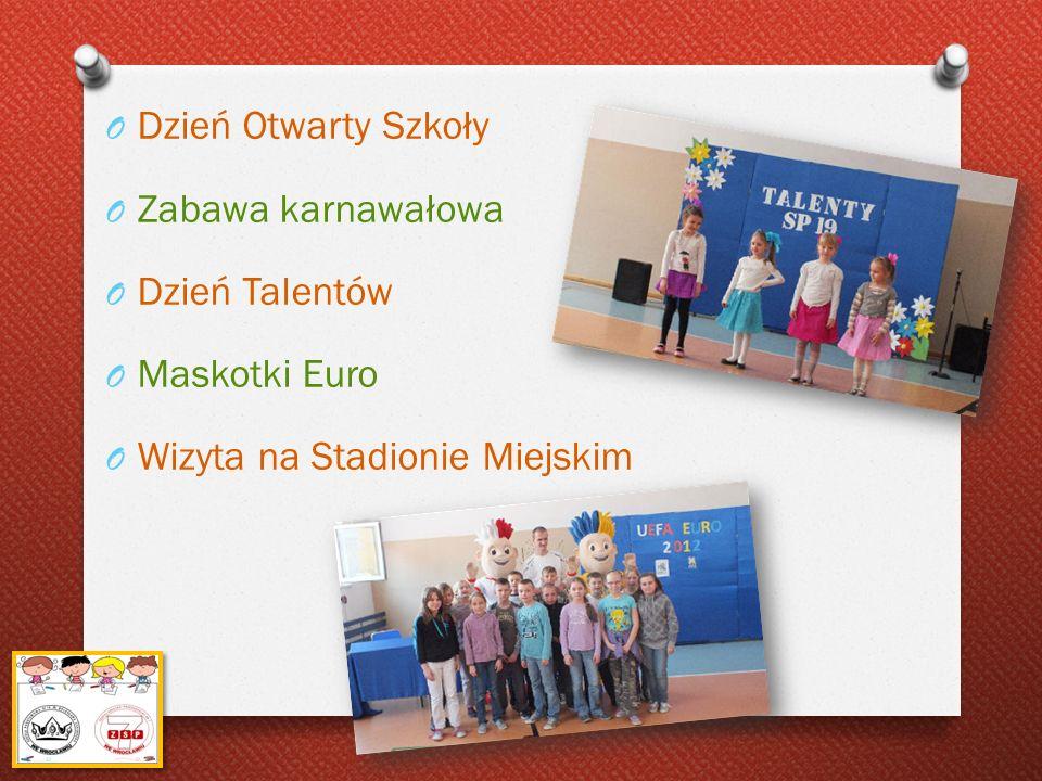 O Dzień Otwarty Szkoły O Zabawa karnawałowa O Dzień Talentów O Maskotki Euro O Wizyta na Stadionie Miejskim