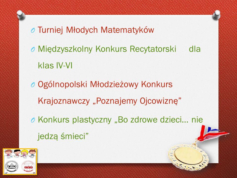 O Turniej Młodych Matematyków O Międzyszkolny Konkurs Recytatorski dla klas IV-VI O Ogólnopolski Młodzieżowy Konkurs Krajoznawczy Poznajemy Ojcowiznę