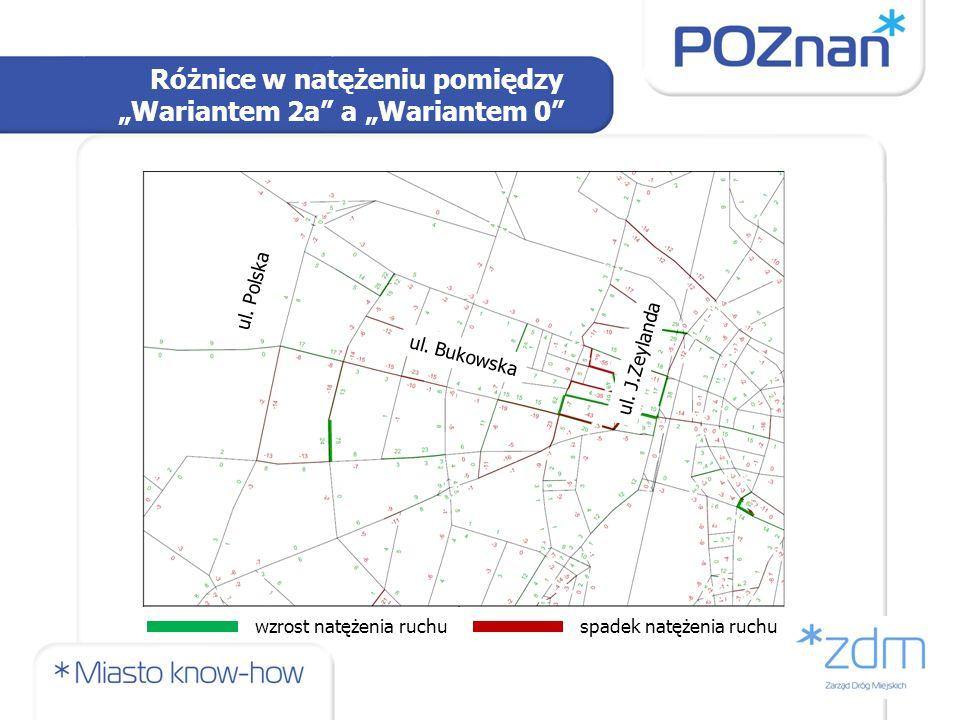 Różnice w natężeniu pomiędzy Wariantem 2a a Wariantem 0 ul. Bukowska ul. Polska ul. J.Zeylanda wzrost natężenia ruchuspadek natężenia ruchu