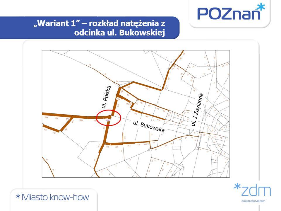 Wariant 1 – rozkład natężenia z odcinka ul. Bukowskiej ul. Bukowska ul. Polska ul. J.Zeylanda