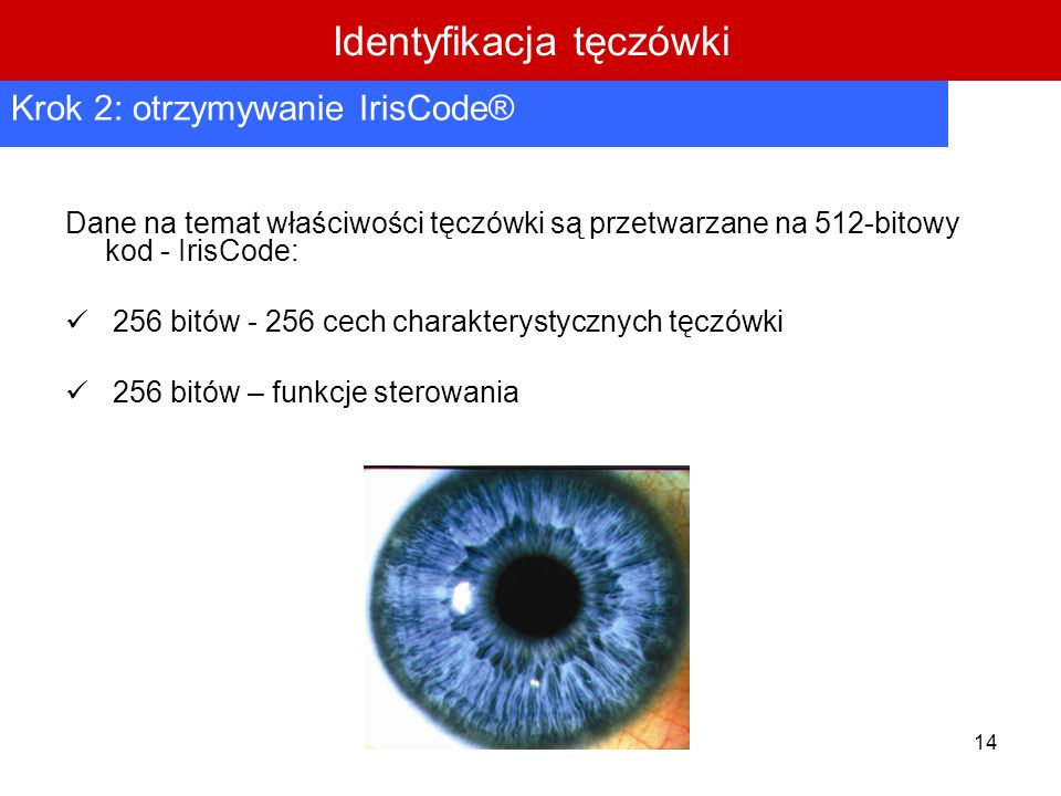 14 Dane na temat właściwości tęczówki są przetwarzane na 512-bitowy kod - IrisCode: 256 bitów - 256 cech charakterystycznych tęczówki 256 bitów – funk