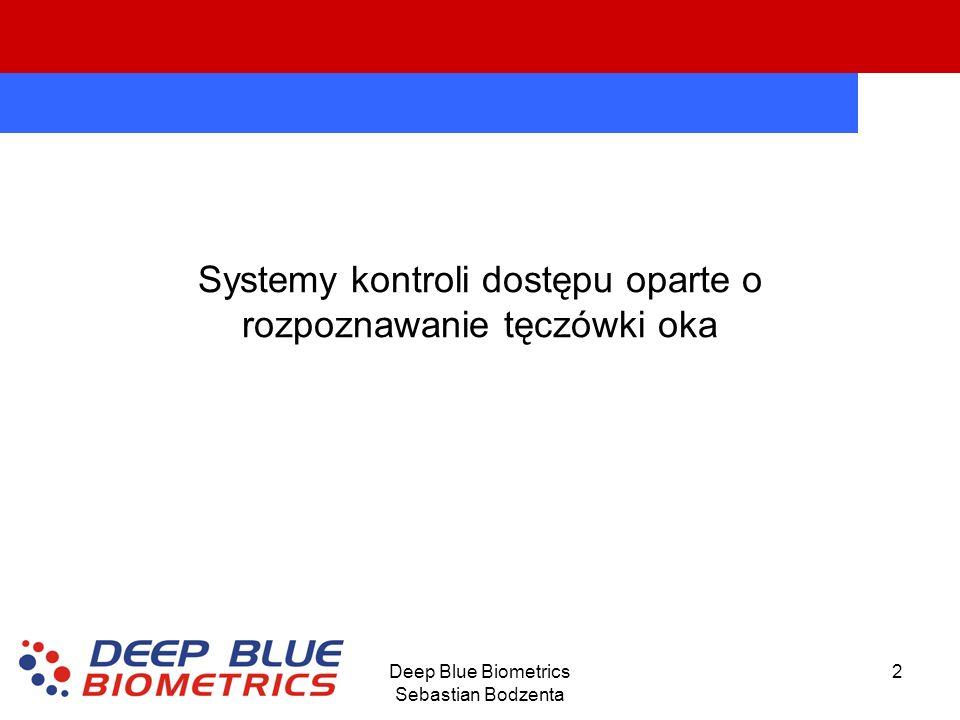Deep Blue Biometrics Sebastian Bodzenta 2 Systemy kontroli dostępu oparte o rozpoznawanie tęczówki oka