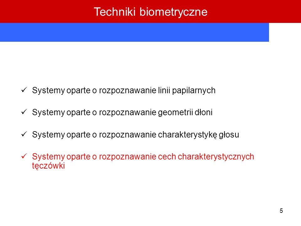 5 Systemy oparte o rozpoznawanie linii papilarnych Systemy oparte o rozpoznawanie geometrii dłoni Systemy oparte o rozpoznawanie charakterystykę głosu