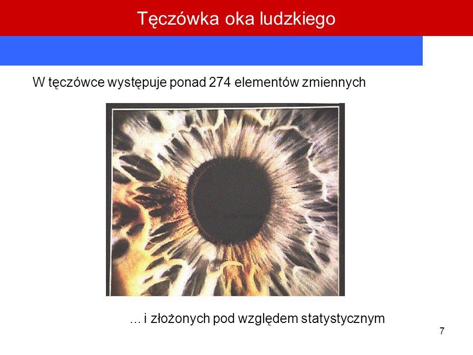 7 W tęczówce występuje ponad 274 elementów zmiennych... i złożonych pod względem statystycznym Tęczówka oka ludzkiego