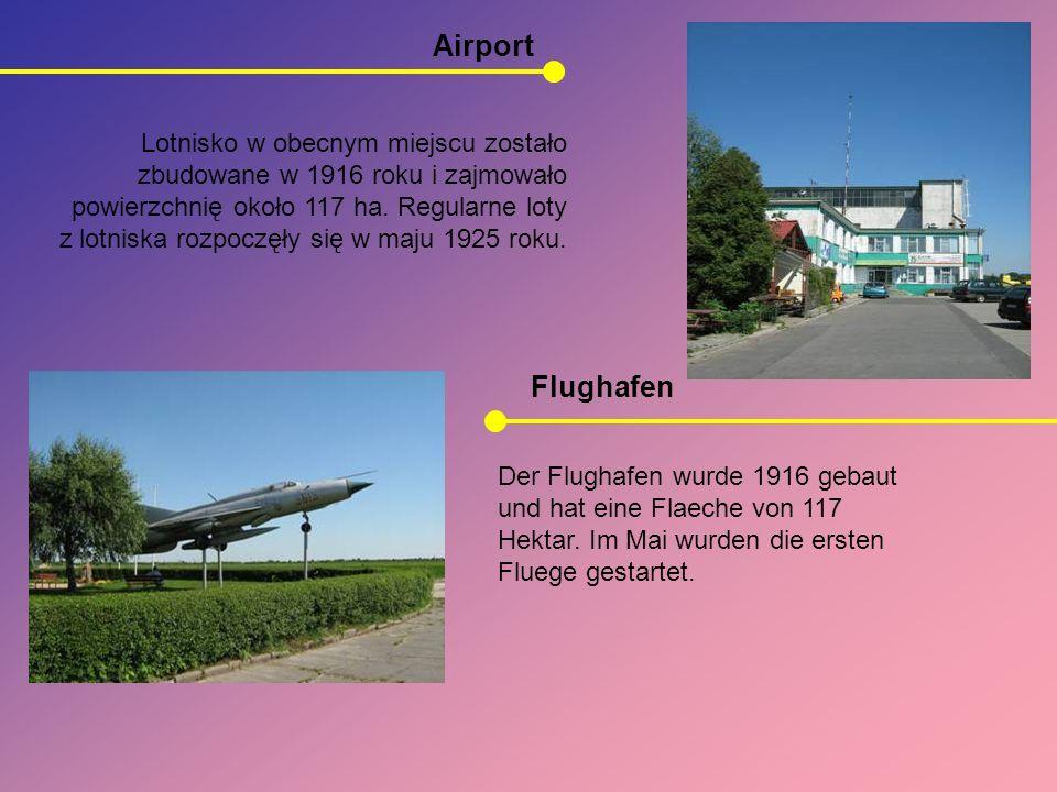 Airport Flughafen Lotnisko w obecnym miejscu zostało zbudowane w 1916 roku i zajmowało powierzchnię około 117 ha. Regularne loty z lotniska rozpoczęły