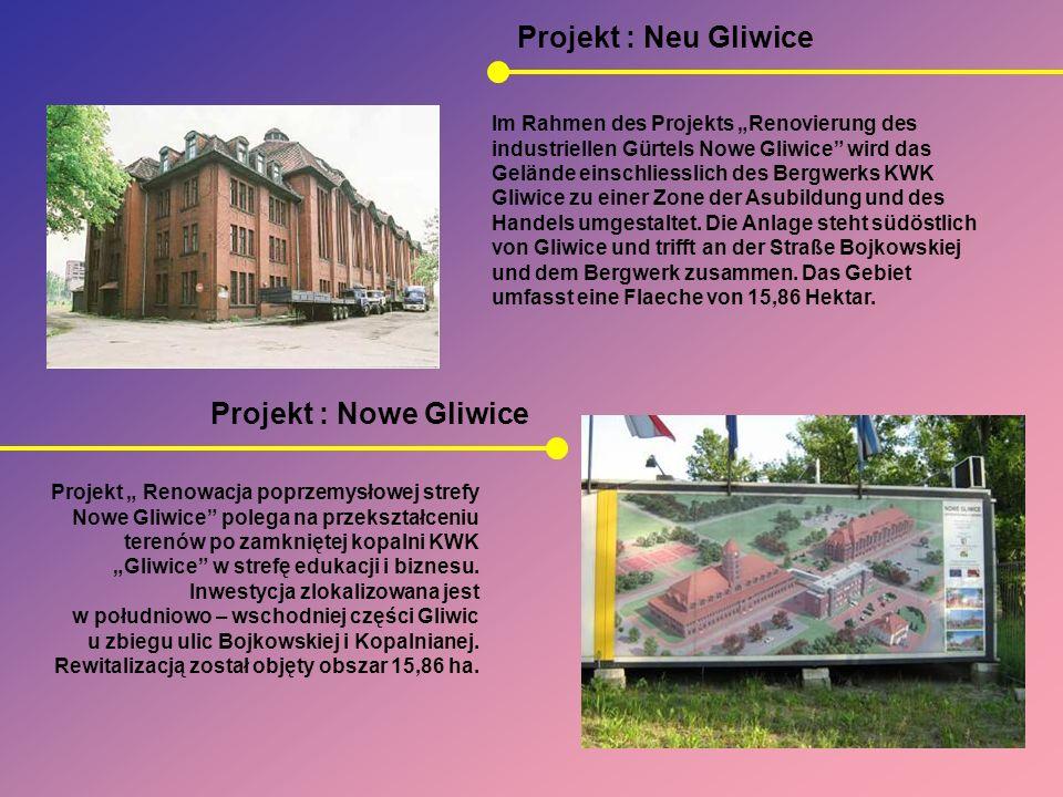 Projekt : Nowe Gliwice Projekt : Neu Gliwice Projekt Renowacja poprzemysłowej strefy Nowe Gliwice polega na przekształceniu terenów po zamkniętej kopa