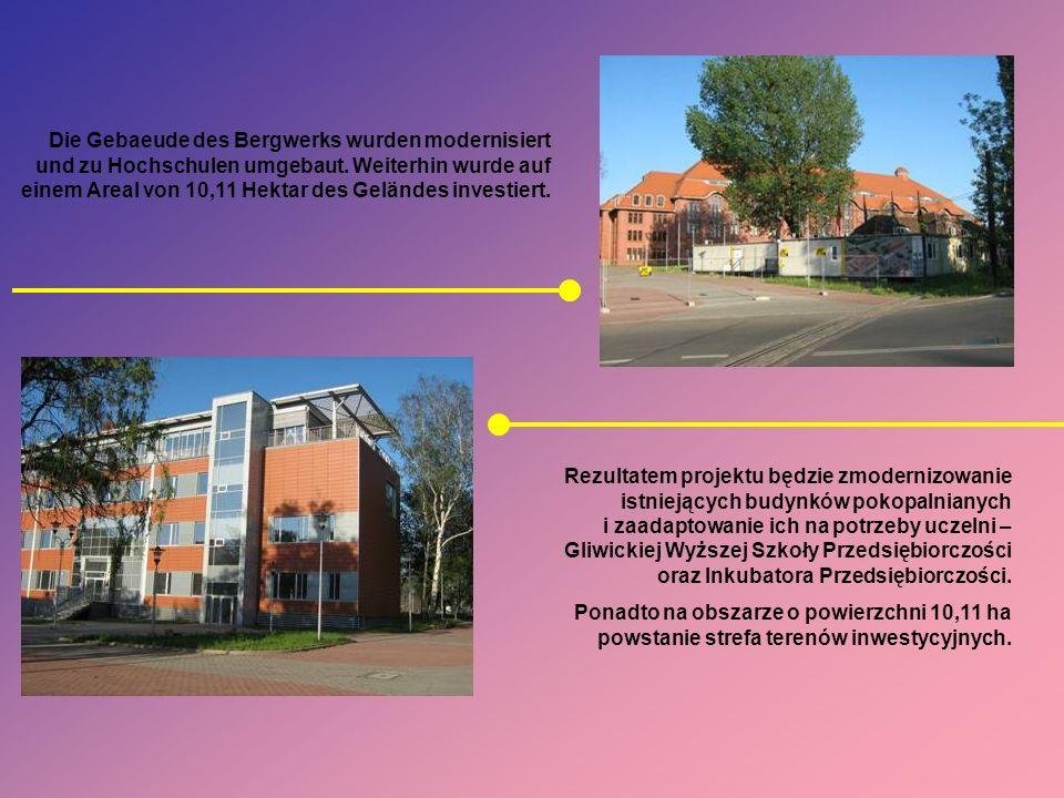 Die Gebaeude des Bergwerks wurden modernisiert und zu Hochschulen umgebaut. Weiterhin wurde auf einem Areal von 10,11 Hektar des Geländes investiert.
