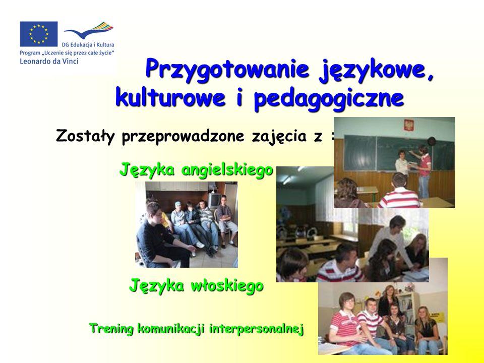 Przygotowanie językowe, kulturowe i pedagogiczne Przygotowanie językowe, kulturowe i pedagogiczne Zostały przeprowadzone zajęcia z : Języka angielskiego Języka włoskiego Trening komunikacji interpersonalnej