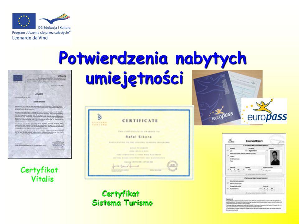 Potwierdzenia nabytych umiejętności Potwierdzenia nabytych umiejętności Certyfikat Vitalis Certyfikat Sistema Turismo Sistema Turismo