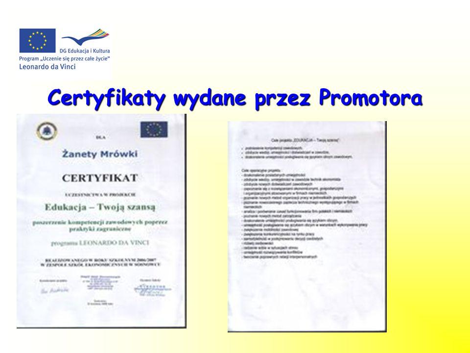 Certyfikaty wydane przez Promotora