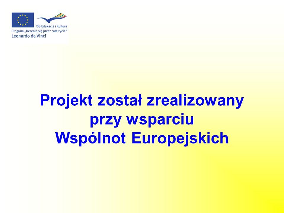 Projekt został zrealizowany przy wsparciu Wspólnot Europejskich