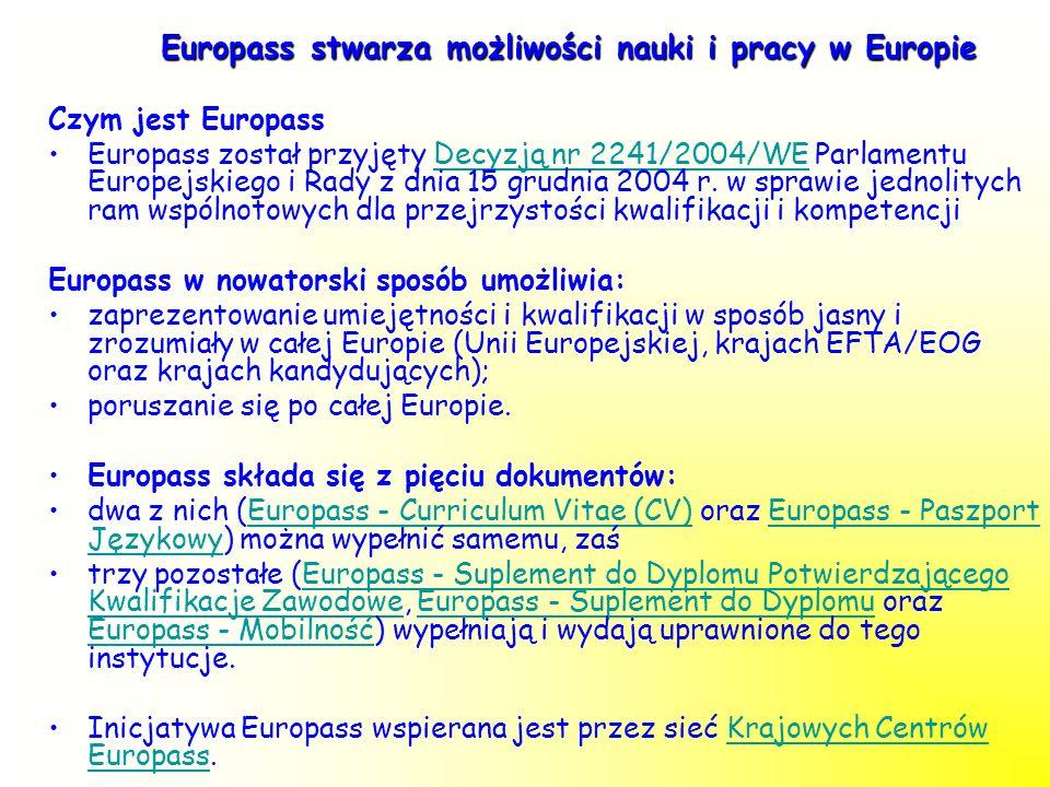 Europass stwarza możliwości nauki i pracy w Europie Czym jest Europass Europass został przyjęty Decyzją nr 2241/2004/WE Parlamentu Europejskiego i Rad