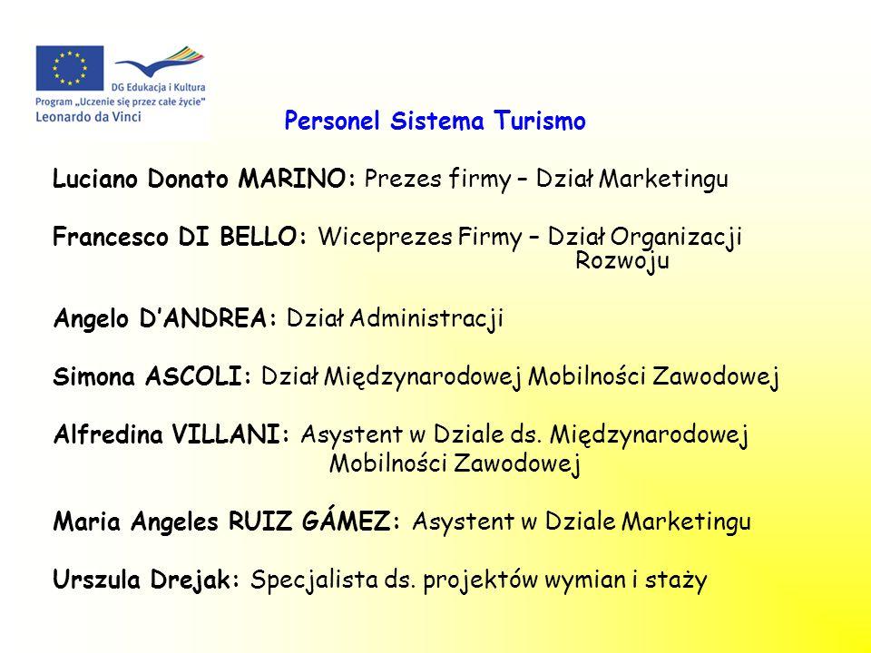 Personel Sistema Turismo Luciano Donato MARINO: Prezes firmy – Dział Marketingu Francesco DI BELLO: Wiceprezes Firmy – Dział Organizacji Rozwoju Angel