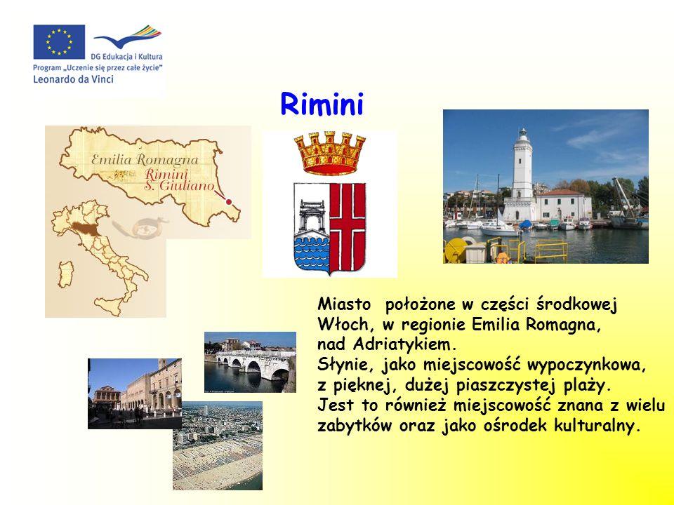 Rimini Miasto położone w części środkowej Włoch, w regionie Emilia Romagna, nad Adriatykiem. Słynie, jako miejscowość wypoczynkowa, z pięknej, dużej p