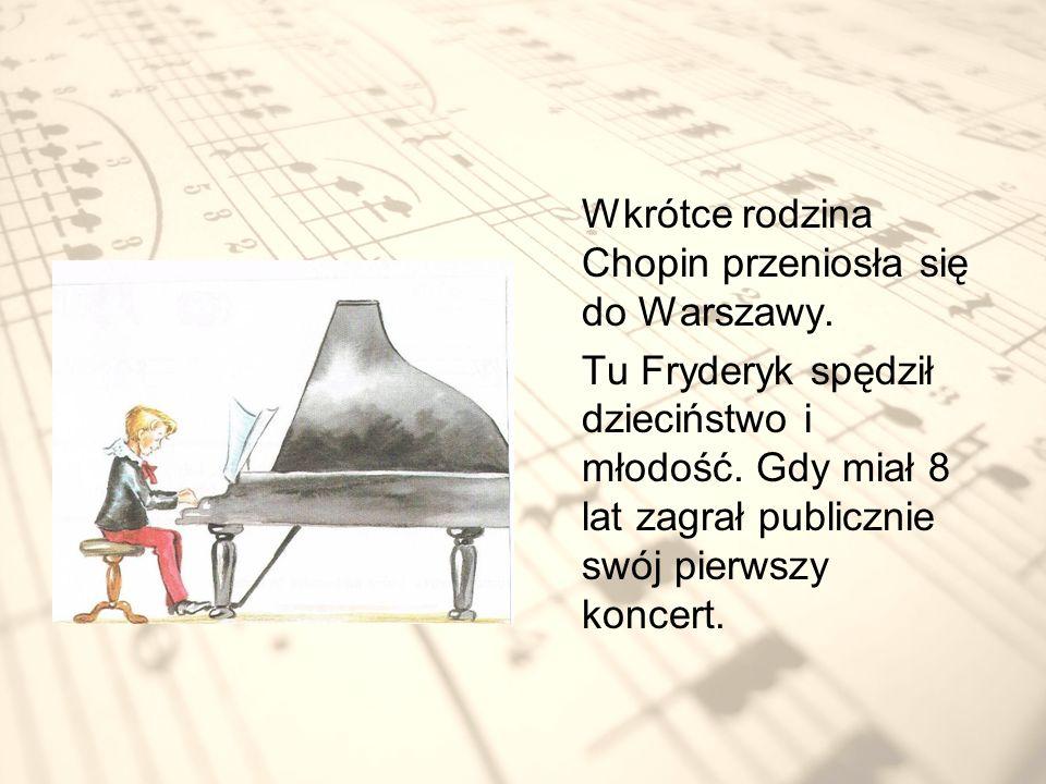 W wieku 20 lat, już jako sławny kompozytor i pianista Fryderyk wyjechał do Paryża.