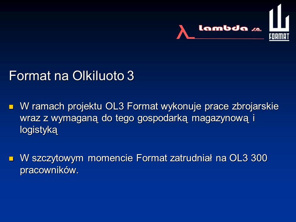 Format na Olkiluoto 3 W ramach projektu OL3 Format wykonuje prace zbrojarskie wraz z wymaganą do tego gospodarką magazynową i logistyką W ramach proje