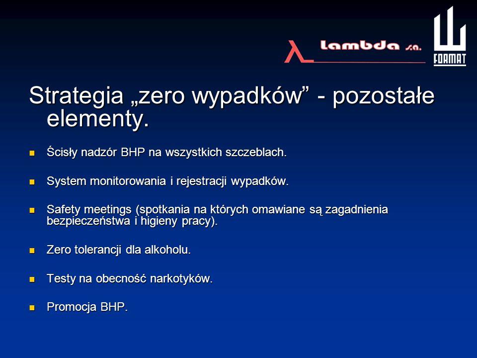 Strategia zero wypadków - pozostałe elementy. Ścisły nadzór BHP na wszystkich szczeblach. Ścisły nadzór BHP na wszystkich szczeblach. System monitorow