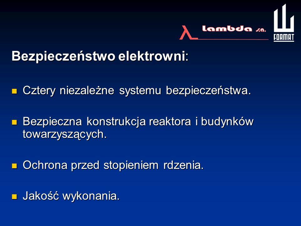 Bezpieczeństwo elektrowni: Cztery niezależne systemu bezpieczeństwa. Cztery niezależne systemu bezpieczeństwa. Bezpieczna konstrukcja reaktora i budyn