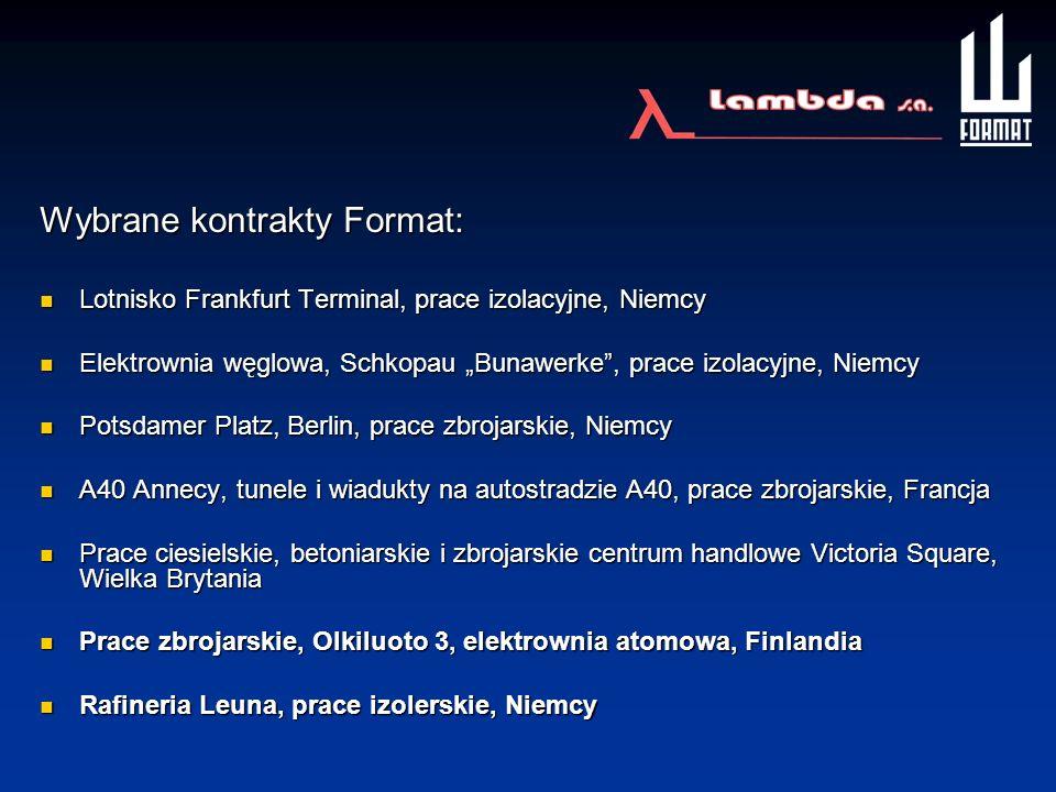 Wybrane kontrakty Format: Lotnisko Frankfurt Terminal, prace izolacyjne, Niemcy Lotnisko Frankfurt Terminal, prace izolacyjne, Niemcy Elektrownia węgl