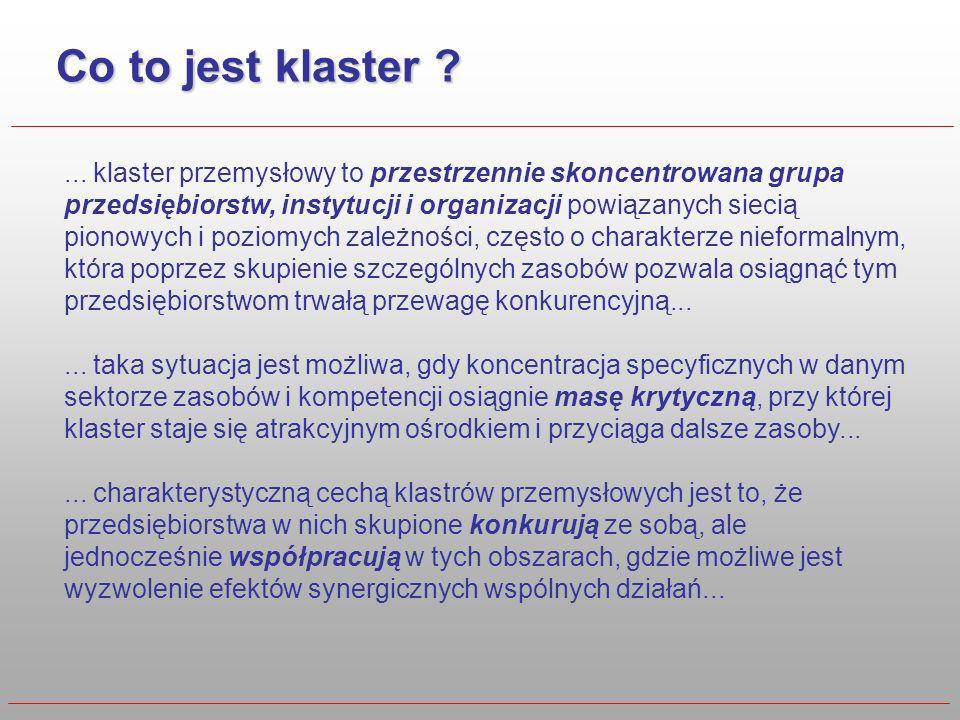 Co to jest klaster ?... klaster przemysłowy to przestrzennie skoncentrowana grupa przedsiębiorstw, instytucji i organizacji powiązanych siecią pionowy