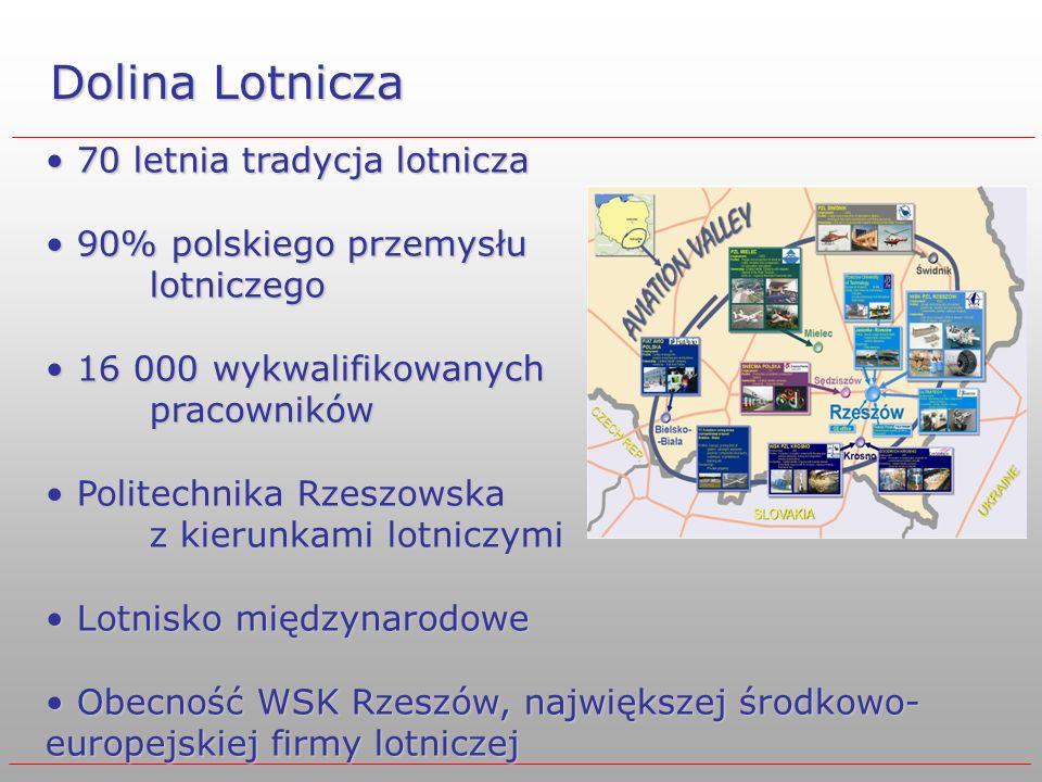 Dolina Lotnicza 70 letnia tradycja lotnicza 70 letnia tradycja lotnicza 90% polskiego przemysłu lotniczego 90% polskiego przemysłu lotniczego 16 000 w