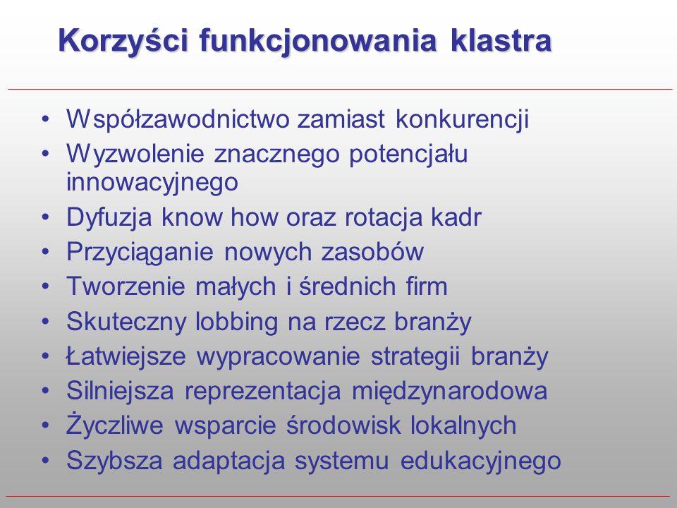 Warunki sklonowania klastrów Popularyzacja idei Identyfikacja potencjalnych lokalizacji Identyfikacja i inspirowanie liderów Zapewnienie podstawowego finansowania Stworzenie systemu zachęt Wpisanie w strategię rozwoju kraju Wykorzystanie wsparcia UE Program tworzenia Innowacyjnych Klastrów Przemysłowych W oparciu o doświadczenia Doliny Lotniczej Rzeszów Grudzień 2005