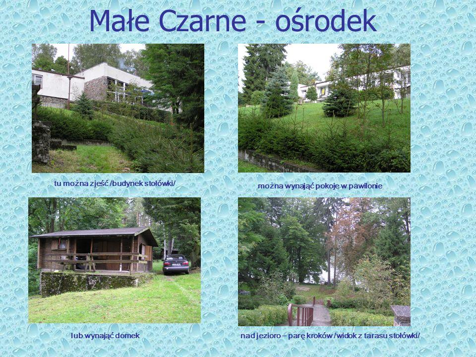 Małe Czarne - ośrodek tu można zjeść /budynek stołówki/ można wynająć pokoje w pawilonie lub wynająć domeknad jezioro – parę kroków /widok z tarasu st