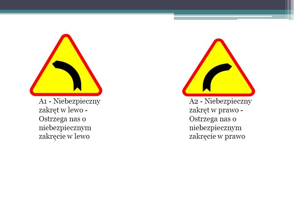 A1 - Niebezpieczny zakręt w lewo - Ostrzega nas o niebezpiecznym zakręcie w lewo A2 - Niebezpieczny zakręt w prawo - Ostrzega nas o niebezpiecznym zak