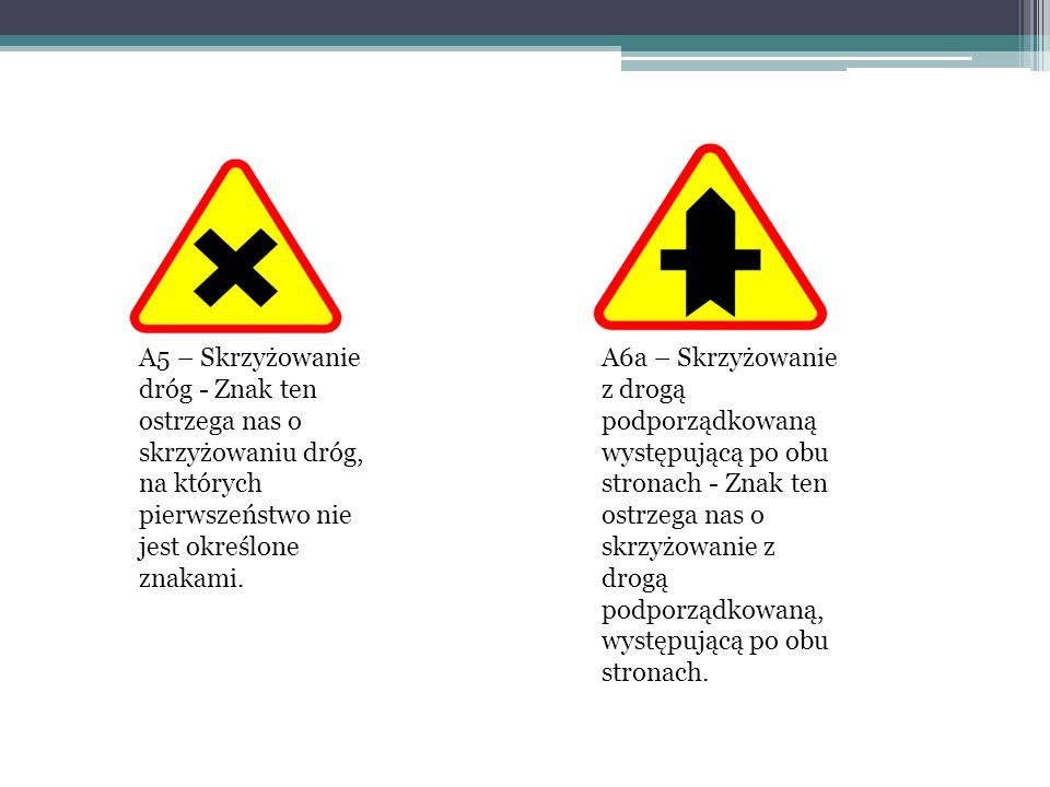 A5 – Skrzyżowanie dróg - Znak ten ostrzega nas o skrzyżowaniu dróg, na których pierwszeństwo nie jest określone znakami. A6a – Skrzyżowanie z drogą po