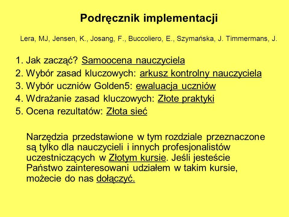 Podręcznik implementacji Lera, MJ, Jensen, K., Josang, F., Buccoliero, E., Szymańska, J. Timmermans, J. 1. Jak zacząć? Samoocena nauczyciela 2. Wybór