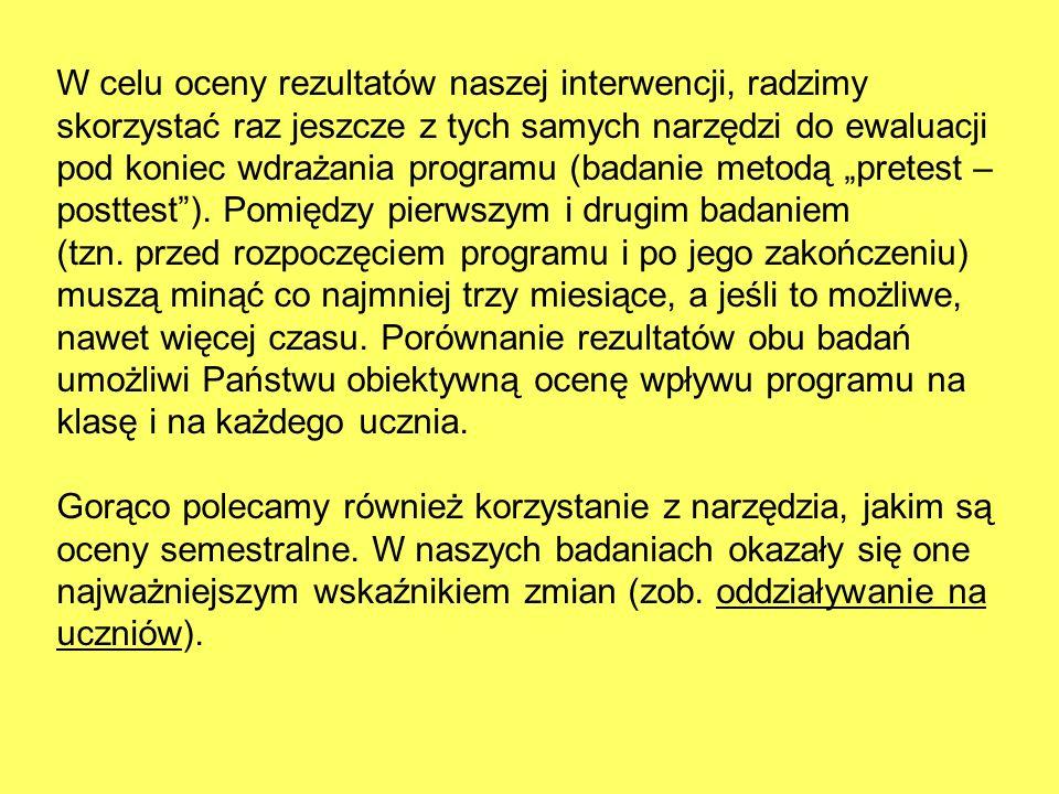 W celu oceny rezultatów naszej interwencji, radzimy skorzystać raz jeszcze z tych samych narzędzi do ewaluacji pod koniec wdrażania programu (badanie